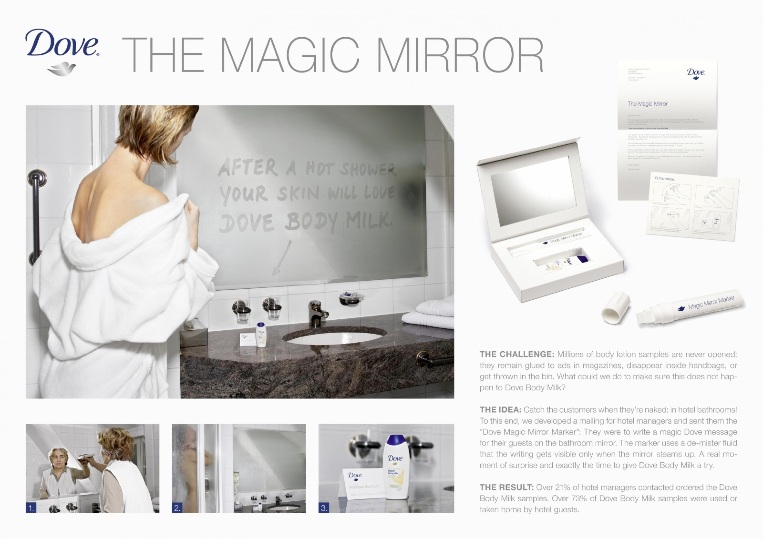unilever dove body lotion magic mirror mailing the magic mirror