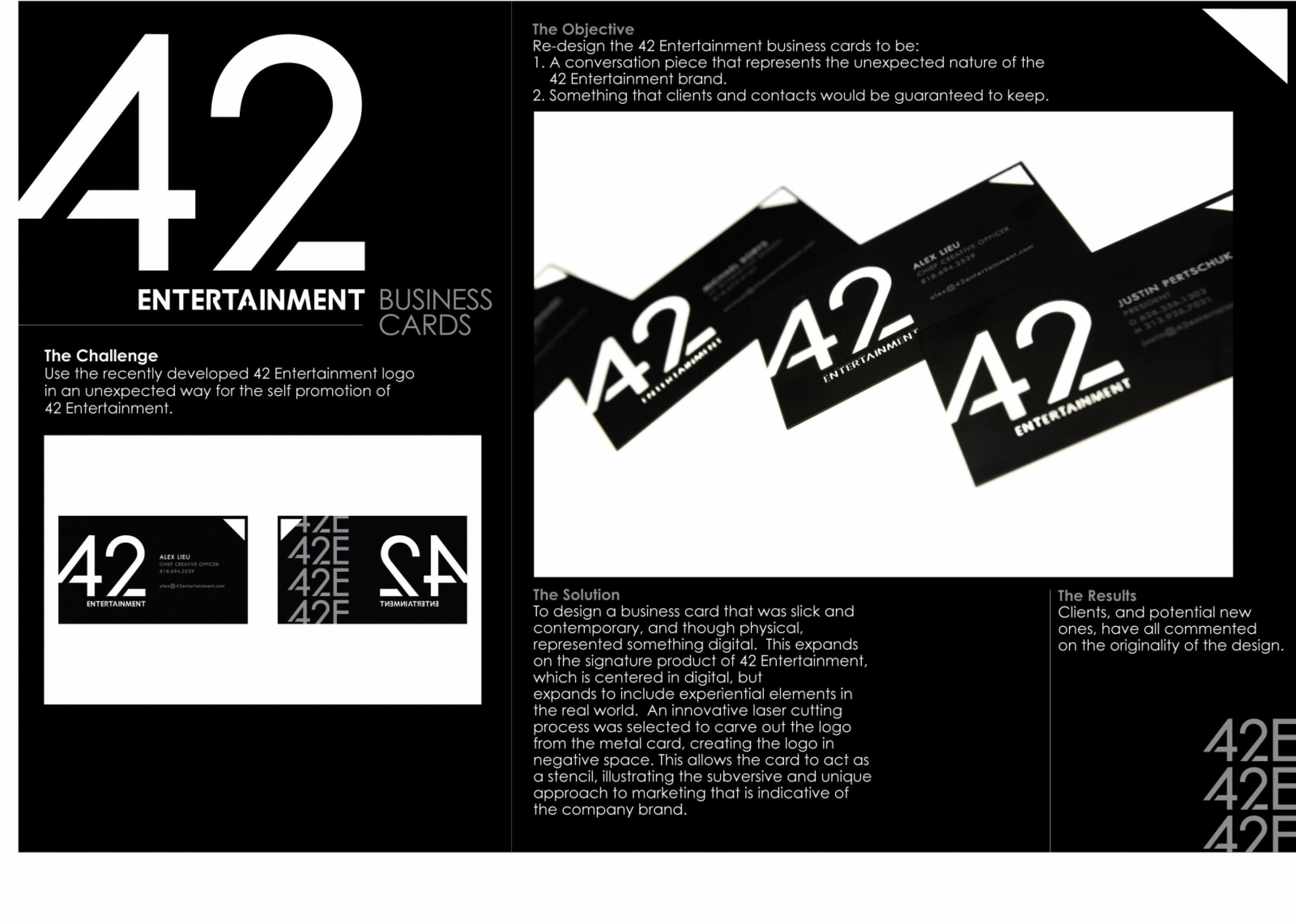 42 Entertainment: 42 Entertainment Business Cards - Adeevee