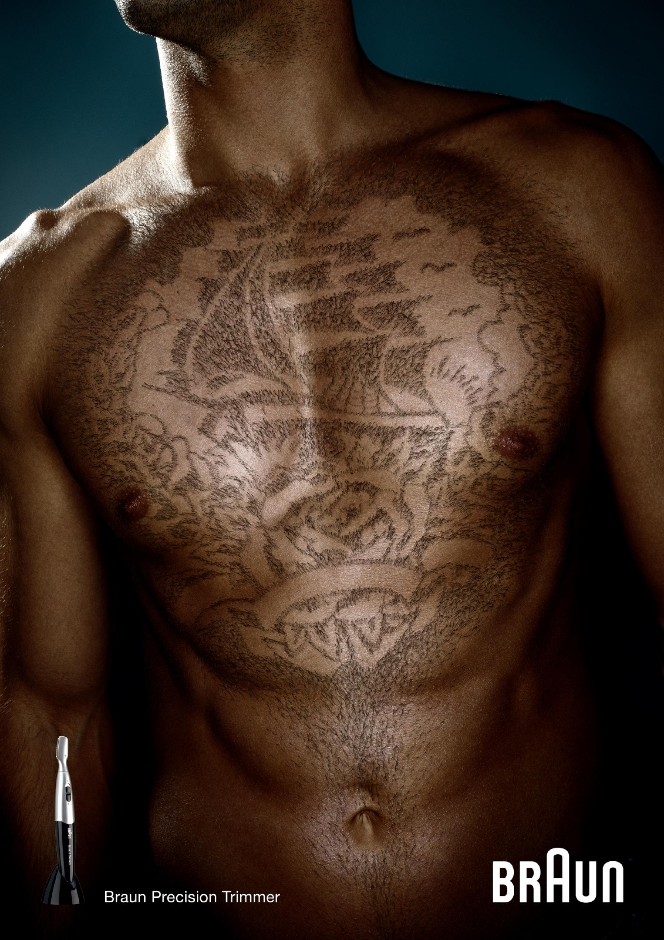 Cool Chest Tattoo Like Hair: Only Selected Creativity - Braun Precision